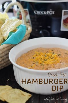 Crock Pot Hamburger Dip This dip is so easy to make and is a definite crowd p Vegetarian Crockpot Recipes, Healthy Crockpot Recipes, Dip Recipes, Light Recipes, Beef Recipes, Appetizer Recipes, Appetizers, Recipes Dinner, Hamburger Dip