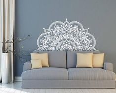 Vinyl Wall Decal Half Mandala Wall Mural Sticker Yoga Lover Gift Home Headboard Decor Interior Design Bedroom Decals Art Headboard Decal, Wall Decals For Bedroom, Vinyl Wall Decals, Bedroom Decor, Sticker Vinyl, Design Bedroom, Decals For Walls, Decor Interior Design, Modern Interior