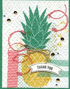 Stampin Up Pineapple, Timeless Texture, Affectionately Yours & Playful Palette Washi Tape, Boho Chic EF.  Cased from my upline Kris Dickinson