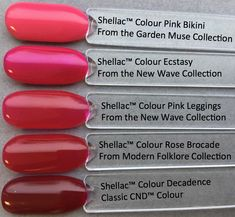 colour comparison shellac pink leggings from the CND new wave collection pictured by fee wallace