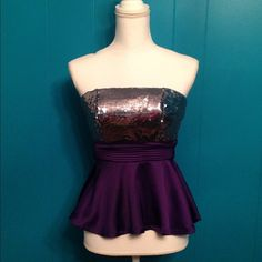 Sequin strapless top NWOT Sequin strapless top. Beautiful rich purple satin with silver sequins. Back is elastic smocking. I have 1 of each size S, M or L so please comment with which size you would like and I will create a separate listing for you. Price firm. Tops