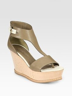 Derek Lam Mirte Leather T-Strap Wedge Sandals at Saks Fifth Avenue