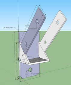 This is the SketchUp design for the knee brace bracket.  It is supposed to hold a 4x6 at a 45-degree angle to support the back of the structure.