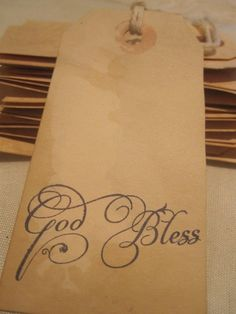 Distressed Gift Tags / Religuos / God Bless by TeatroRosso, $4.99