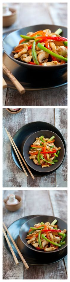 Bell Peppers Chicken Recipe. Quick, easy, and healthy chicken stir-fry with red and green bell peppers and a Chinese brown sauce. SUPER YUM! http://rasamalaysia.com