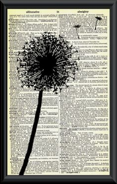 Make a Wish Dandelion Vintage Dictionary Page Art. This vintage dictionary page has a nice golden age that just smells so nostaglic. Book Page Art, Book Art, Mixed Media Collage, Collage Art, Altered Books, Altered Art, Journal D'art, Art Journals, Newspaper Art