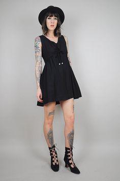 6977bfb4cd4a black vtg 60 s BABYDOLL mini DRESS mod a-line by NOIROHIOVINTAGE