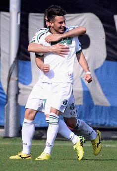 Nicola Sansone of US Sassuolo Calcio celebrates scoring their second goal during the Serie A match between Atalanta BC and US Sassuolo Calci...