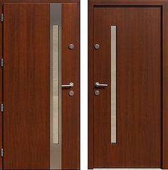 Drzwi wejściowe z aplikacjami inox model 454,2-454,12 w kolorze orzech