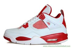 chaussures basketball pas cher Blanc/Rouge/Or Melo AIR JORDAN 4 RETRO