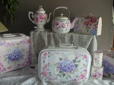 How to Paint Hydrangea Roses Bridal Traincase Suitcase Lesson on CD E103 | eBay