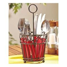 Flatware Caddy Black Metal Silverware Holder Cutlery Utensil Table Organizer New