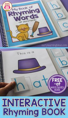 Teach rhyming, beginnng sounds, blending, and CVC words or phonics with this interactive rhyming book. This is a perfect addition to your class library or literacy center in preschool, pre-k, kindergarten, SPED, or RTI.  Laminated book can be used over and over again....also includes a black and white version.