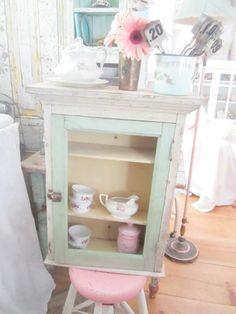 Vintage Chippy white and minty green shabby chic cupboard shelf shabby chic cottage chic by Vintagewhitecottage on Etsy
