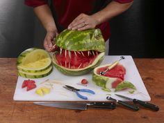 T-Rex Dinosaur watermelon head. Dinosaur Watermelon, Watermelon Head, Watermelon Carving, Dinosaur Cake, Dinosaur Birthday Party, Carved Watermelon, Dinosaur Head, 5th Birthday, Birthday Ideas