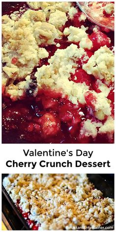 Fill wine or water goblets with Valentine's Day Cherry Crunch Dessert, and serve topped with vanilla ice cream or fresh whipped cream! Mini Desserts, Cake Mix Desserts, Cherry Desserts, Valentine Desserts, Cherry Recipes, Sweet Desserts, Easy Desserts, Delicious Desserts, Valentines
