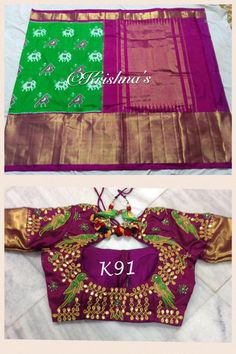 Green Ikat Saree with parrots and elephants all over the saree. It has magenta border with heavy zari border. Blouse with muggu design and green parrots. Choli Blouse Design, Pattu Saree Blouse Designs, Stylish Blouse Design, Fancy Blouse Designs, Bridal Blouse Designs, Blouse Neck Designs, Maggam Work Designs, Sumo, Designer Blouse Patterns