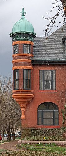 Lafayette Square neighborhood, in Saint Louis, Missouri, USA - turret on home