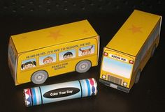 """School Bus Printables    School Bus Box is 1 1/2"""" wide x 2"""" high x 4 1/2"""" long.     Fill the box with Kisses, Miniature Bars or other small candy. (Wrappers for Lifesaver candy and Hershey's Miniature Candy Bars are included.)"""