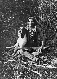 A young Ute Indian warrior and his dog. Uintah valley, eastern slope of the Wasatch Mountains, Utah. Photo by J.Hillers, Powell Expedition, Courtesy Utah Historical Society by karyn Native American Beauty, Native American Photos, Native American Tribes, Native American History, American Indians, Indiana, Arte Tribal, Vintage Dog, Native Indian