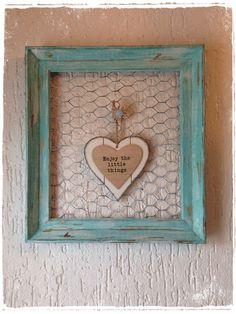 Vintage Bilderrahmen - Großer Bilderrahmen Pinnwand Shabby - ein Designerstück von HeartmadebySteph bei DaWanda