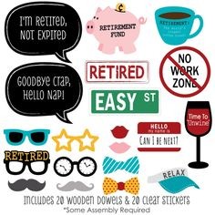 Amazon.com: Retirement - Photo Booth Props Kit - 20 Count: Toys & Games