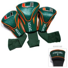 Miami Hurricanes Golf Club 3 Piece Contour Headcover Set