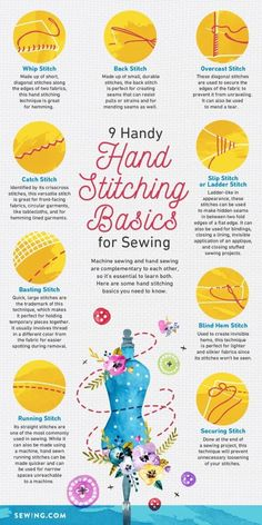 9 Basic Hand Stitching Techniques Every Sewer Should Learn - Ageberry/All things sewing: sewing projects, sewing for beginners, sewing patterns - Sewing Basics, Sewing Hacks, Sewing Tutorials, Sewing Crafts, Sewing Tips, Basic Sewing, Learn Sewing, Sewing Lessons, Sewing Art