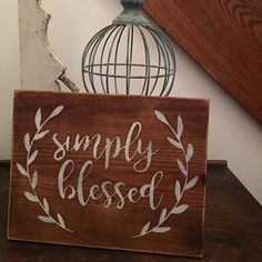 Simply Blessed Wood Sign Farmhouse Wood by TheRusticCountryHome