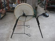 treadle powered grinding wheel. #SharpeningEquipment Antique Tools, Old Tools, Grid Tool, Sharpening Tools, Tool Shop, Off The Grid, Power Tools, Blacksmithing, Axe