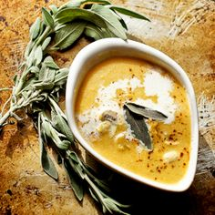 Creamy Vegetarian Butternut Squash and Leek Soup with Sage & Mushrooms ...