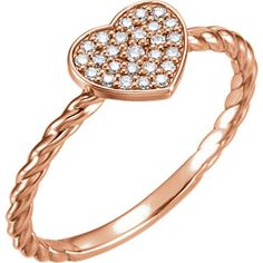 14kt Rose Gold Cluster Diamond Heart Rope Ring so pretty At Portofino Jewelry in Avon, Colorado