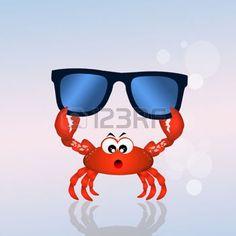 cangrejo caricatura: crab with sunglasses Foto de archivo