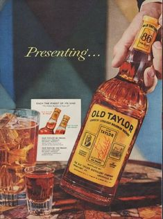 "Description: 1955 OLD TAYLOR BOURBON vintage print advertisement ""Presenting ...""""Presenting ... Another great Old Taylor bourbon. Old Taylor 86. Now you can enjoy ""The Noblest Bourbon of Them All"" in lighter, milder, lower-priced 86 proof"" Size: The dimensions of each page of the two-page advertisement are approximately 11 inches x 14 inches (28cm x 36cm). Condition: This original vintage advertisement is in Very Good Condition unless otherwise noted ()."