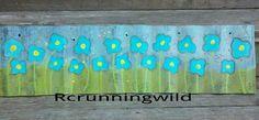 Field of whimsy flowers on corrugated metal. Visit my art blog rcrunningwild.blogspot.com