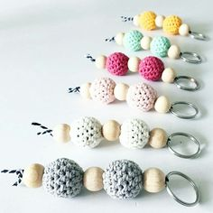 Crochet/wood keychains