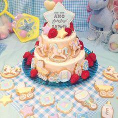 BABY SHOWER CAKE⭐︎ 初めて作ったbaby shower cakeはAMOちゃんへ これもまた運命だなぁ✩*⋆ #babyshower #babyshowercake #icing #cake #cookie #KUNIKA