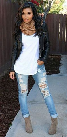 Fall Outfit- Black leather jacket, brown scarf, white top, ripped denim, & brown boots. #fashionista