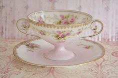 Stunning Antique RS Prussia Pedestal Pink Cream Soup Cup and Saucer