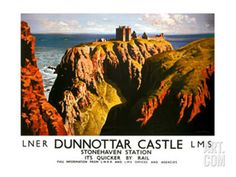 Dunnottar Castle Poster Railway Vintage Beautiful Amazing View Old Advert Photo
