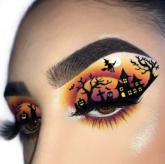 Looking for for inspiration for your Halloween make-up? Browse around this website for cool Halloween makeup looks. Eye Makeup Art, Colorful Eye Makeup, Smokey Eye Makeup, Eyeshadow Makeup, Disney Eye Makeup, Fall Eye Makeup, Prom Makeup, Makeup Brushes, Face Makeup