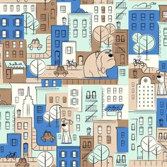 The Secret Life of Pets Fabric  MAX and DUKE - City Scenic 100% cotton  fabric by the yard 36