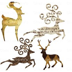 Gold Winterland Deer Elegant Shabby Chic Set of 4 Digital Deer... ($1.50) ❤ liked on Polyvore featuring home, home decor, gold home accessories, deer home decor and gold home decor