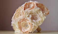 Fabric Flower Wedding Bouquet  Fabric Bridal by bouquets4love, $280.00