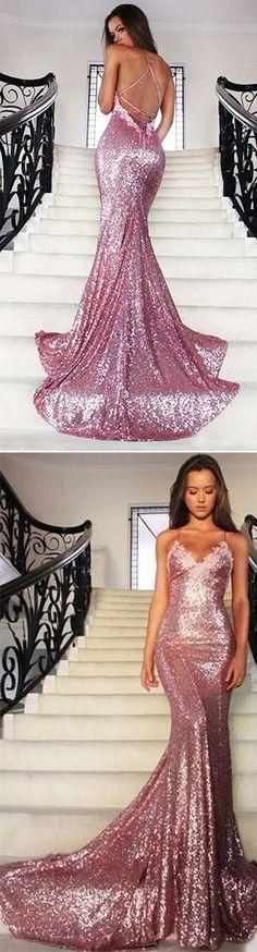 Trumpet/Mermaid Spaghetti Straps Backless Sequins Prom Dresses 2017