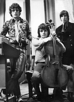 Early Pink Floyd -- Syd Barrett, multi-instrumentalist Richard Wright on cello, and Roger Waters.