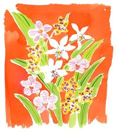 orchids with an orange ground stuck #watercolor
