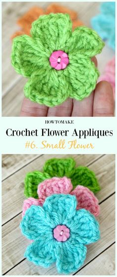 Small Flower Free Crochet Pattern-Easy #Crochet #Flower Appliques Free Patterns