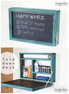 Fold down homework desk that saves space is perfect for small rooms and dorms. - Your Dream Interior Design and Decor - Your Dream Interior Design and Decor Homework Desk, Homework Station, Kid Desk, Boys Desk, Space Saving Desk, Space Saving Furniture, Furniture Ideas, Computer Desk Small Space, Kids Desk Space