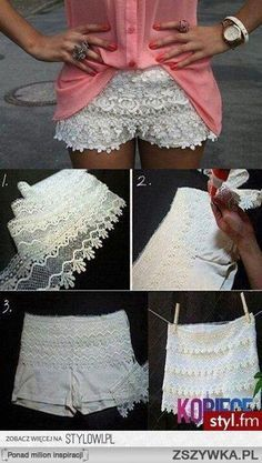 DIY – Lace Shorts out of White Soffe Shorts! Here's another version of the lacey white shorts. (Just like the UO shorts I've been tempted to buy! Diy Shorts, Sewing Shorts, Crochet Shorts, Cheer Shorts, Diy Crochet, Sewing Clothes, Dress Sewing, Sewing Crafts, Sewing Projects